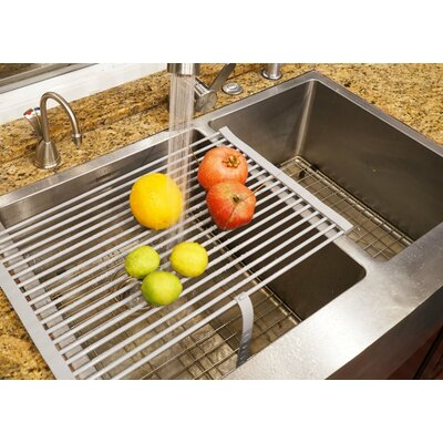 Roll-up Folding Drying Rack Colander Built-in Hook and Loop Fastening Rack Tie Finish: Grey
