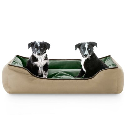 Reversible Waterproof Bolster Dog Bed Color: Khaki Forest