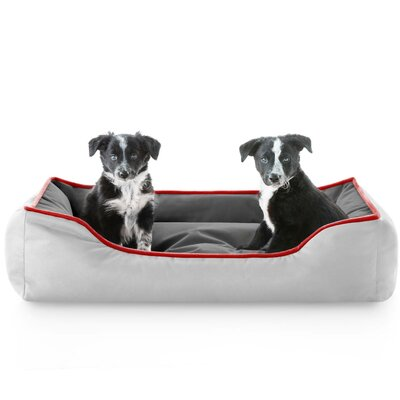Hadley Reversible Waterproof Bolster Dog Bed Color: Charcoal Red