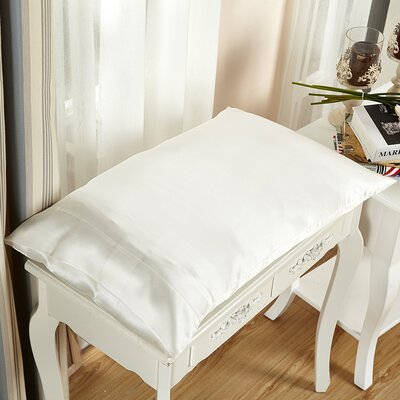 Pure Silk Pillowcase 22 Momme Color: Ivory, Size: 36 x 20