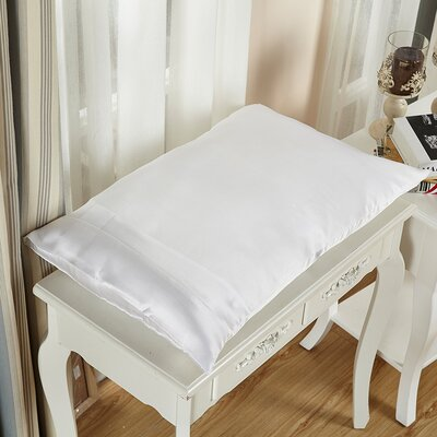 Pure Silk Pillowcase 22 Momme Size: 30 x 20, Color: White