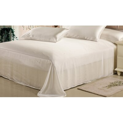 Silk Flat Sheet Color: Ivory, Size: Queen