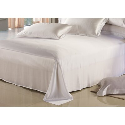 Silk Flat Sheet Size: King, Color: White