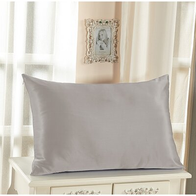 Reinaldo Pure Silk Pillowcase with Hidden Zipper 19 Momme Color: Silver Gray, Size: 36 x 20