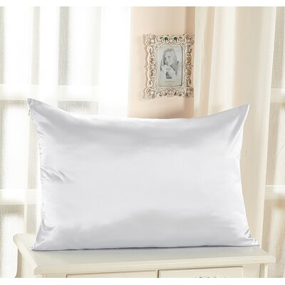 Pure Silk Pillowcase with Hidden Zipper 19 Momme Size: 36 x 20, Color: White