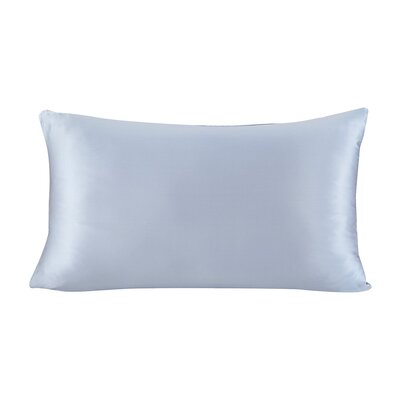 Pure Silk Pillowcase with Hidden Zipper 19 Momme Size: 30 X 20, Color: Light Blue