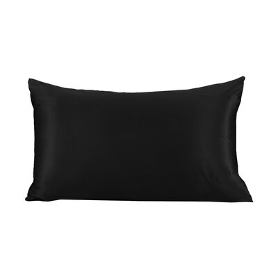 Pure Silk Pillowcase with Hidden Zipper 19 Momme Size: 30 X 20, Color: Black