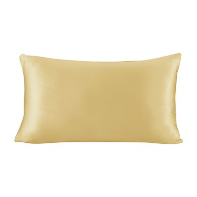 Pure Silk Pillowcase with Hidden Zipper 19 Momme Size: 30 X 20, Color: Gold