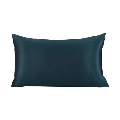 Reinaldo Pure Silk Pillowcase with Hidden Zipper 19 Momme Color: Dark Teal, Size: 30 X 20