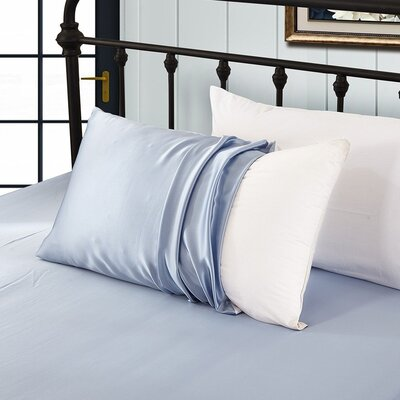19 Momme Silk Pillow Case Color: Light Blue, Size: 20 H x 30 W x 0.25 D