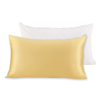 19 Momme Silk Pillow Case Size: 20 H x 36 W x 0.25 D, Color: Ivory