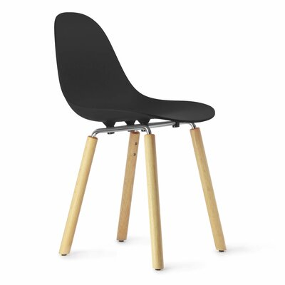 TA Solid Wood Dining Chair Upholstery: Black, Finish: Natural Oak