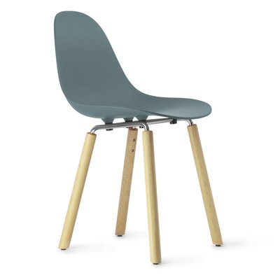 TA Solid Wood Dining Chair Upholstery: Ocean Blue, Finish: Natural Oak