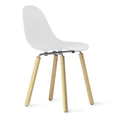 TA Solid Wood Dining Chair Upholstery: White, Finish: Natural Oak