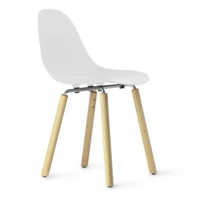 TA Side Chair Upholstery: White, Finish: Natural Oak