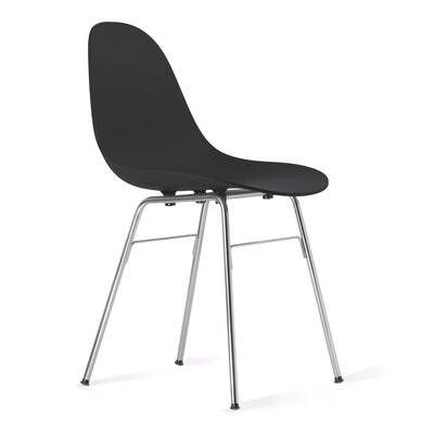 TA Side Chair Upholstery: Black, Finish: Chrome Plated