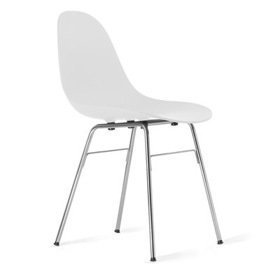 TA Side Chair Upholstery: White, Finish: Chrome Plated