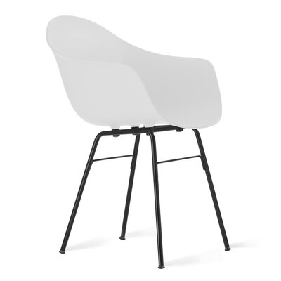 TA Arm Chair Upholstery: White, Finish: Black Powder
