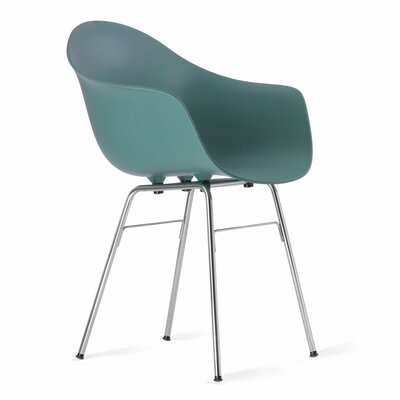 TA Arm Chair Upholstery: Ocean Blue, Finish: Chrome Plated