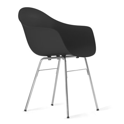 TA Arm Chair Upholstery: Black, Finish: Chrome Plated