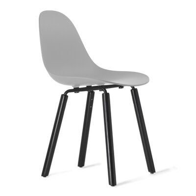 TA Side Chair Upholstery: Cool Grey, Finish: Black Stained Oak