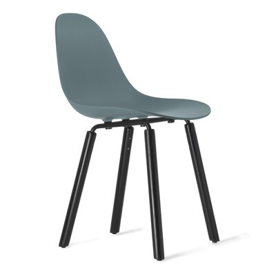 TA Solid Wood Dining Chair Upholstery: Ocean Blue, Finish: Black Stained Oak