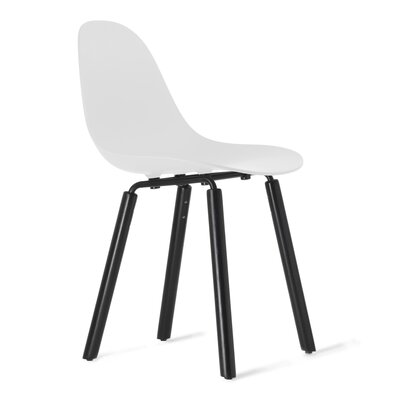TA Solid Wood Dining Chair Upholstery: White, Finish: Black Stained Oak