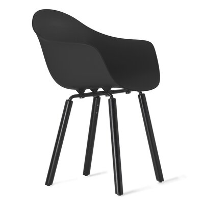 TA Solid Wood Dining Chair Upholstery: Black, Finish: Black Stained Oak