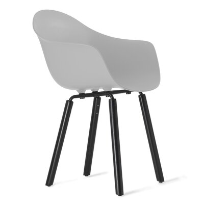 TA Solid Wood Dining Chair Upholstery: Cool Grey, Finish: Black Stained Oak