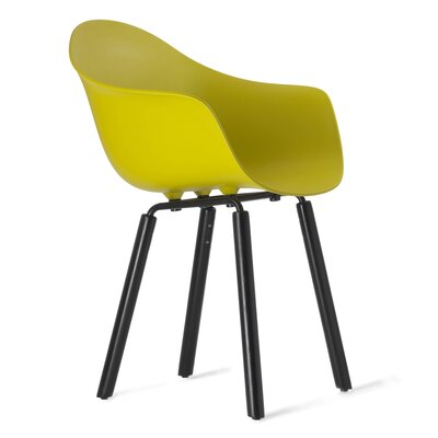 TA Solid Wood Dining Chair Upholstery: Mustard, Finish: Black Stained Oak