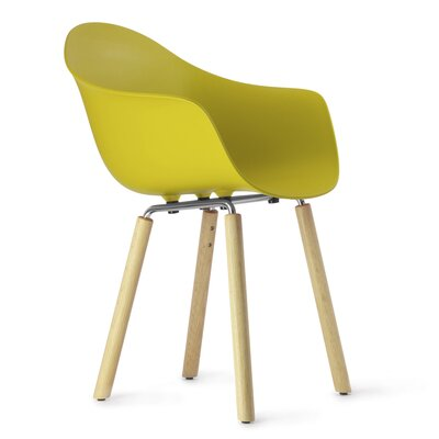 TA Solid Wood Dining Chair Upholstery: Mustard, Finish: Natural Oak