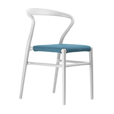 Joi Side Chair Upholstery: Light Blue, Finish: White