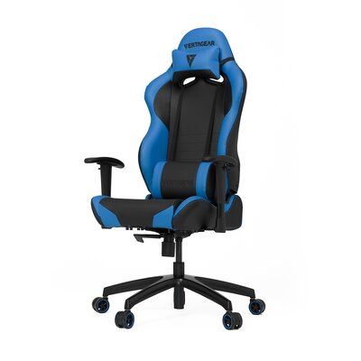 High-Back Gaming Office Chair with Arms Upholstery Color: Black/Blue