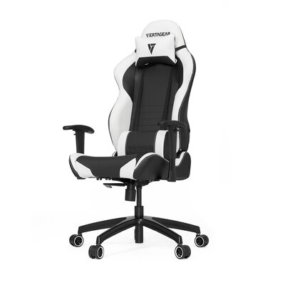 High-Back Gaming Office Chair with Arms Upholstery Color: Black/White