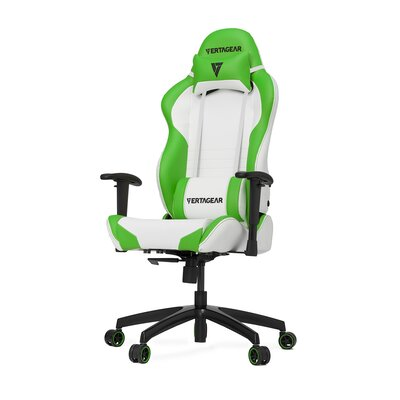 High-Back Gaming Office Chair with Arms Upholstery Color: White/Green