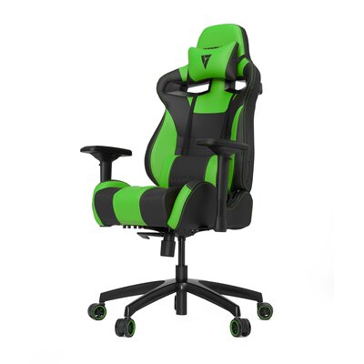 High-Back Gaming Office Chair with Arms Upholstery Color: Black/Green