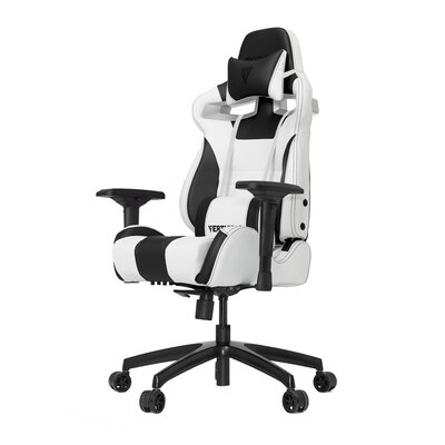 High-Back Gaming Office Chair with Arms Upholstery Color: White/Black