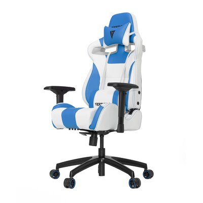 High-Back Gaming Office Chair with Arms Upholstery Color: White/Blue
