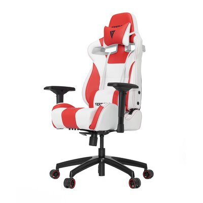 High-Back Gaming Office Chair with Arms Upholstery Color: White /Red