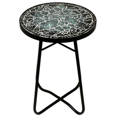 Cracked Black Mosaic End Table