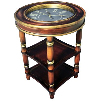 Dual Shelf Clock End Table