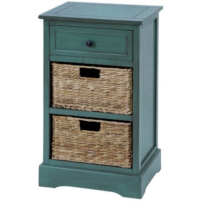 Malibu 3-Drawer Night Stand Color: Teal