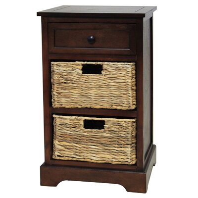 Malibu 3-Drawer Night Stand Color: Coffee