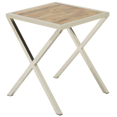 Stainless Steel Square Wooden End Table