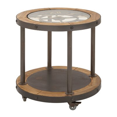 Clock Top Industrial Round End Table