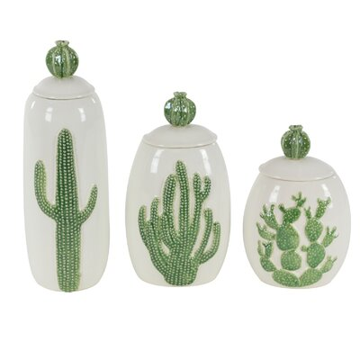 Hanwell Farm Cactus Ceramic 3 Piece Decorative Jar Set