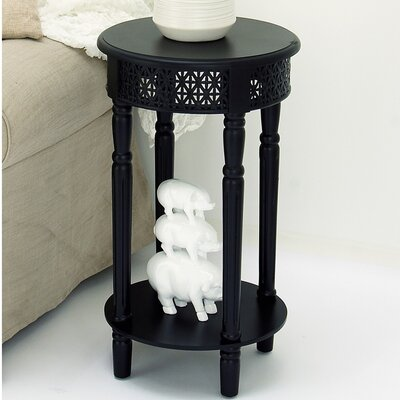 Berkshire Wood Round End Table Color: Black