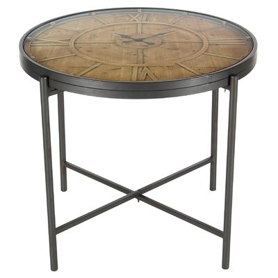 Wrobel Antique Wood Clock Round End Table