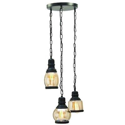 Deshawn Glass Hanging 3-Light Cluster Pendant WLFR4715 43110235