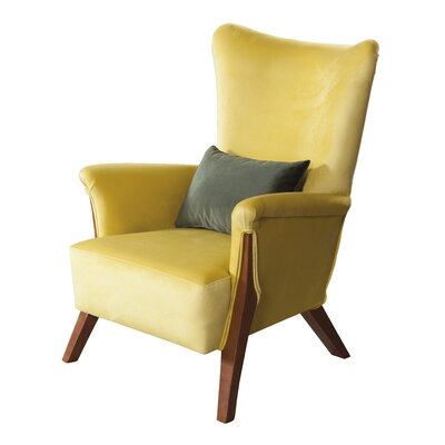 Snapp Armchair Upholstery: Yellow, Finish: Chestnut